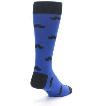 Image of Blue Black Mustache Men's Dress Socks (side-1-back-21)
