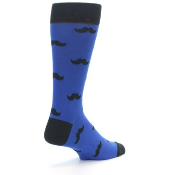 Image of Blue Black Mustache Men's Dress Socks (side-1-back-22)
