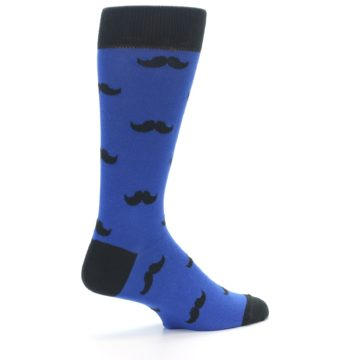 Image of Blue Black Mustache Men's Dress Socks (side-1-23)
