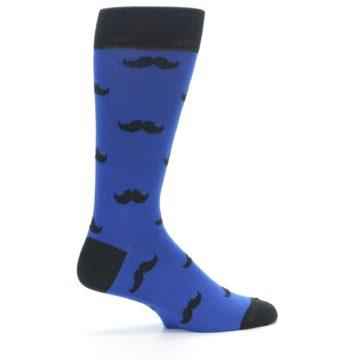 Image of Blue Black Mustache Men's Dress Socks (side-1-24)