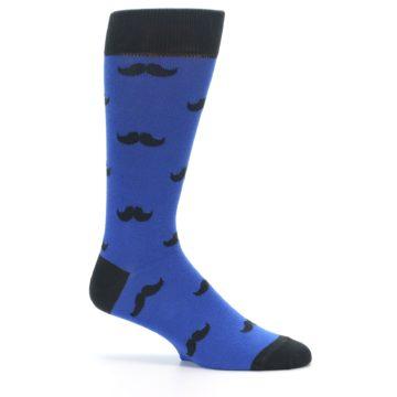 Image of Blue Black Mustache Men's Dress Socks (side-1-25)