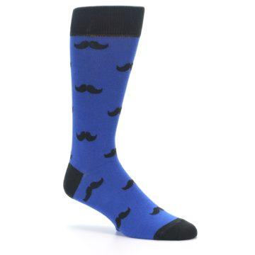 Image of Blue Black Mustache Men's Dress Socks (side-1-26)