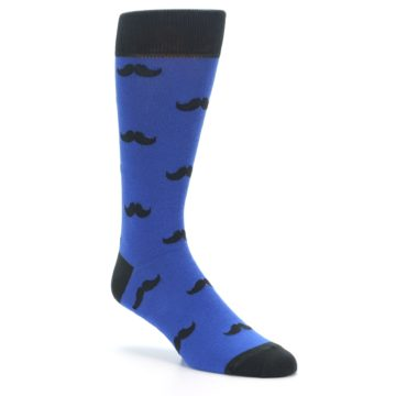 Image of Blue Black Mustache Men's Dress Socks (side-1-27)