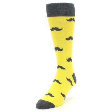 Image of Yellow Grey Mustache Men's Dress Socks (side-2-front-07)