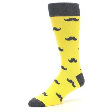 Image of Yellow Grey Mustache Men's Dress Socks (side-2-09)
