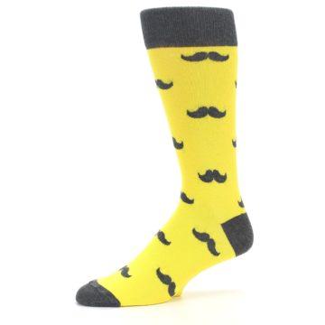 Image of Yellow Grey Mustache Men's Dress Socks (side-2-10)
