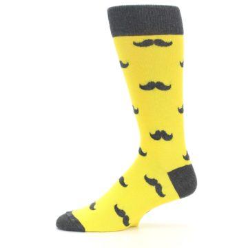 Image of Yellow Grey Mustache Men's Dress Socks (side-2-11)