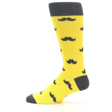 Image of Yellow Grey Mustache Men's Dress Socks (side-2-12)