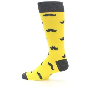 Image of Yellow Grey Mustache Men's Dress Socks (side-2-13)