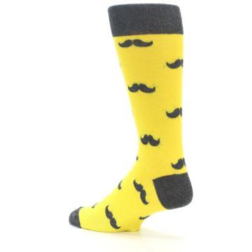 Image of Yellow Grey Mustache Men's Dress Socks (side-2-back-14)