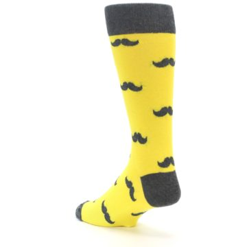 Image of Yellow Grey Mustache Men's Dress Socks (side-2-back-15)
