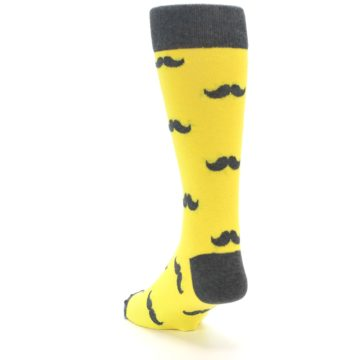 Image of Yellow Grey Mustache Men's Dress Socks (side-2-back-16)