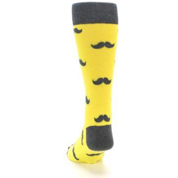 Image of Yellow Grey Mustache Men's Dress Socks (back-17)