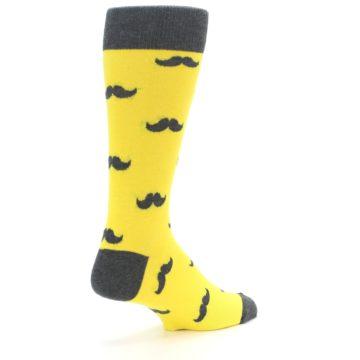 Image of Yellow Grey Mustache Men's Dress Socks (side-1-back-22)