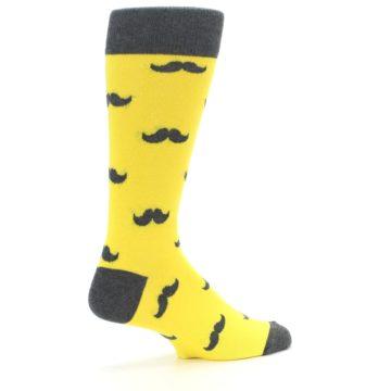 Image of Yellow Grey Mustache Men's Dress Socks (side-1-23)