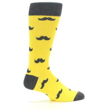 Image of Yellow Grey Mustache Men's Dress Socks (side-1-24)