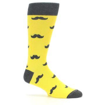 Image of Yellow Grey Mustache Men's Dress Socks (side-1-25)