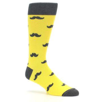 Image of Yellow Grey Mustache Men's Dress Socks (side-1-26)