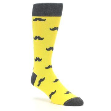 Image of Yellow Grey Mustache Men's Dress Socks (side-1-27)