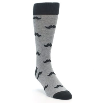 Image of Gray Charcoal Mustache Men's Dress Socks (side-1-front-02)