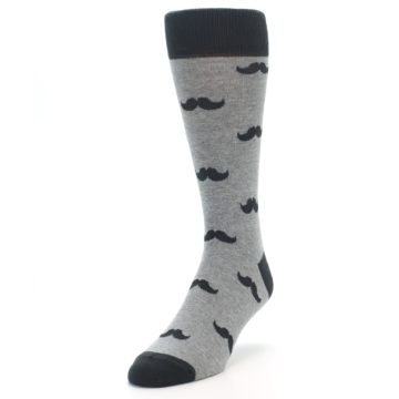 Image of Gray Charcoal Mustache Men's Dress Socks (side-2-front-07)