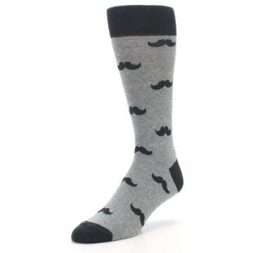Image of Gray Charcoal Mustache Men's Dress Socks (side-2-front-08)