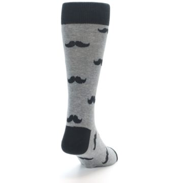 Image of Gray Charcoal Mustache Men's Dress Socks (side-1-back-20)