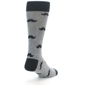 Image of Gray Charcoal Mustache Men's Dress Socks (side-1-back-21)