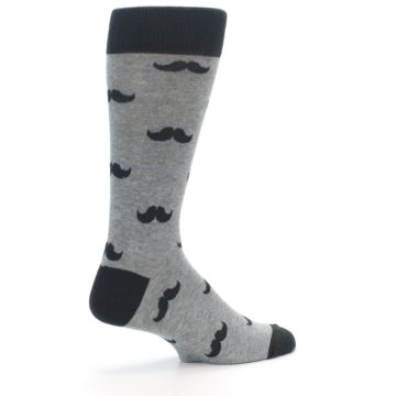 Image of Gray Charcoal Mustache Men's Dress Socks (side-1-23)