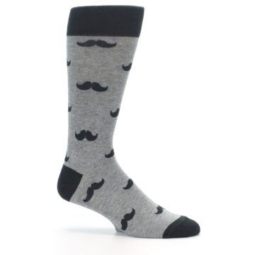 Image of Gray Charcoal Mustache Men's Dress Socks (side-1-25)