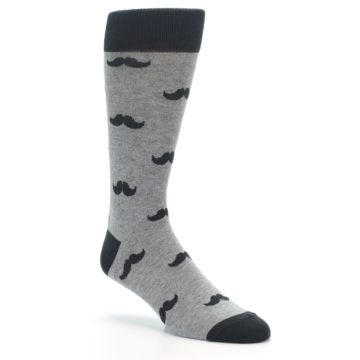 Image of Gray Charcoal Mustache Men's Dress Socks (side-1-27)