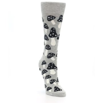 Image of Grey Black Mushrooms Women's Dress Socks (side-1-front-02)