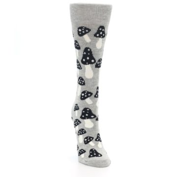 Image of Grey Black Mushrooms Women's Dress Socks (side-1-front-03)