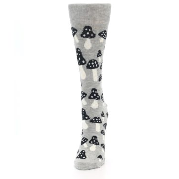Image of Grey Black Mushrooms Women's Dress Socks (side-2-front-06)