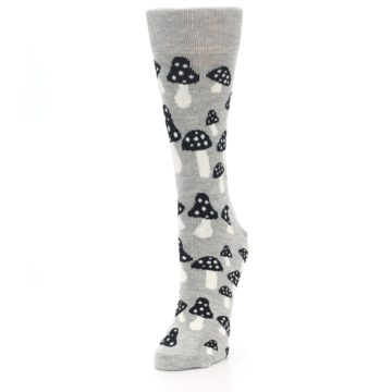 Image of Grey Black Mushrooms Women's Dress Socks (side-2-front-07)