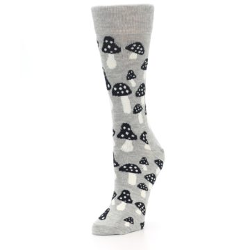 Image of Grey Black Mushrooms Women's Dress Socks (side-2-front-08)