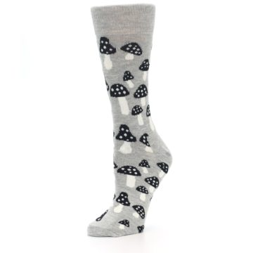 Image of Grey Black Mushrooms Women's Dress Socks (side-2-09)