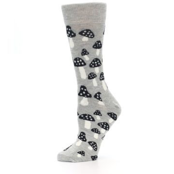 Image of Grey Black Mushrooms Women's Dress Socks (side-2-10)