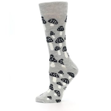 Image of Grey Black Mushrooms Women's Dress Socks (side-2-11)