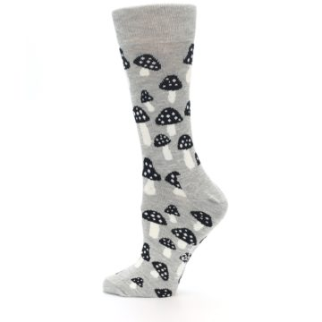 Image of Grey Black Mushrooms Women's Dress Socks (side-2-12)