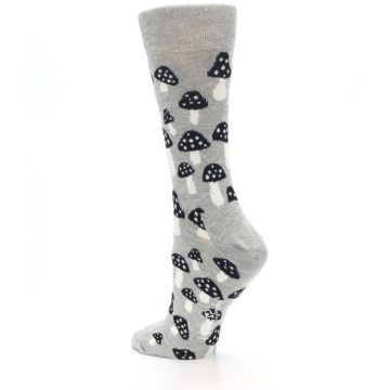 Image of Grey Black Mushrooms Women's Dress Socks (side-2-back-14)