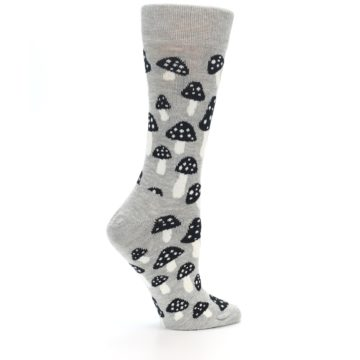 Image of Grey Black Mushrooms Women's Dress Socks (side-1-24)