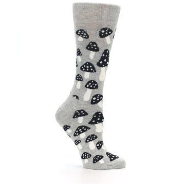 Image of Grey Black Mushrooms Women's Dress Socks (side-1-25)