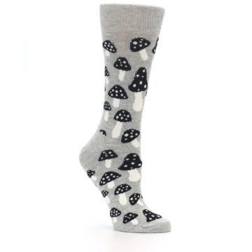 Image of Grey Black Mushrooms Women's Dress Socks (side-1-26)