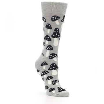 Image of Grey Black Mushrooms Women's Dress Socks (side-1-27)