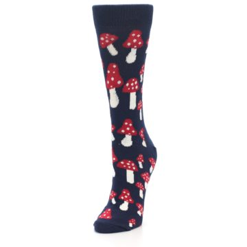 Image of Navy Red Mushrooms Women's Dress Socks (side-2-front-07)