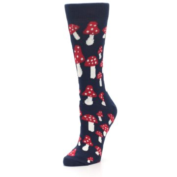 Image of Navy Red Mushrooms Women's Dress Socks (side-2-front-08)