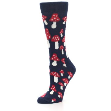 Image of Navy Red Mushrooms Women's Dress Socks (side-2-09)