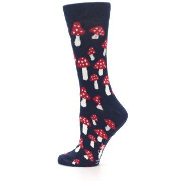 Image of Navy Red Mushrooms Women's Dress Socks (side-2-12)