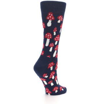 Image of Navy Red Mushrooms Women's Dress Socks (side-1-back-22)